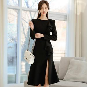 كم الكشكشة كوريا المرقعة الأسود الكامل Vestidos المرأة الركبة طول ذيل السمكة مثير موجز أنثى اللباس