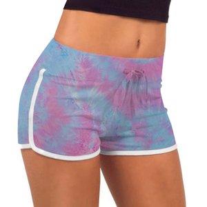 Summer Tie Dye шорты девушки Тонкий Фитнес повседневные брюки Printed Stretch Lift Buttock Горячие Спортивные штаны DDA124