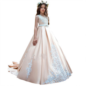 New Satin Girls Pageant Dresses Lace Flower Girl Dresses Dresses with Sash Ball Gowns Custom Made Birth Day Party Dress