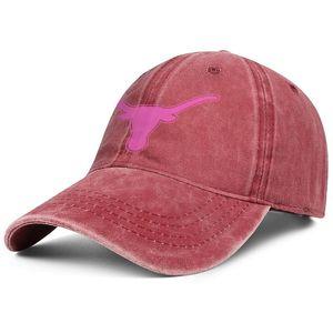 Texas Longhorns football logo rose cancer du sein rouge Unisexe Denim chapeau de lavage Chapeau réglable de balle personnalisé équipé plain Robuste Dad caps