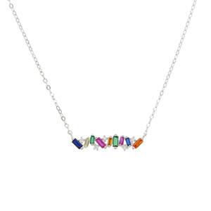 Romantic 2019 fashion Geometric irregular Rainbow Color CZ Bar Pendant Brand Collar choker Necklace Charm jewelry gift For Women