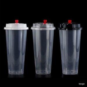 700ml 24 oz Tek Plastik Bardaklar Soğuk Sıcak İçecekler Suyu Kupa Kalınlaşmak Şeffaf İçecekler Mug Kapak U Düzen Bubble Tea Süt Kupası DBC BH3822 ile