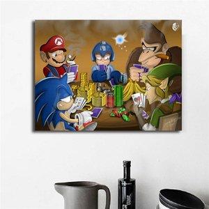 Марио Anime Canvas Gaming Poker Poster Print Абстрактная живопись Стена Картина Современная для гостиной Home Decor