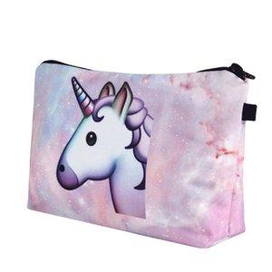 Hot Pink unicornio bolsa de cosméticos bolsa de maquillaje de viaje de múltiples funciones de almacenamiento de viaje Toiletey Bolsas portátil para niña mujer Envío gratis