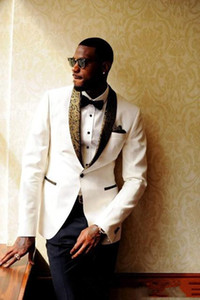 Latest Design Ivory Groom Tuxedos Groomsmen Custom Made Shawl Collar Mens Wedding Suits Bridegroom (Jacket+Pants+Bow Tie+Handkerchief) 711