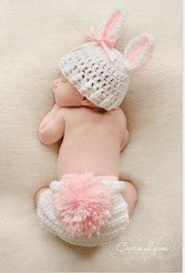 Nouveau-né Bébé Lapin Forme nouveau-né photo Props Bébé Costume Crochet bébé Cap Photographie Props Chapeau tricoté