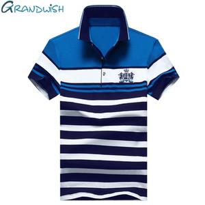 Designer Grandwish Men Embroidery Polo Shirts Slim Fit Turn -Down Collar Striped Polo Shirts Mens 2018 New Cotton Polo Man 4xl ,Da055