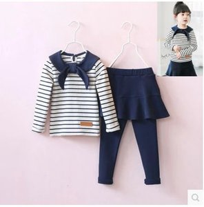 2020 Retail New Girls Navy Striped Shirt + Pant skirt Leggings Spring Clothes Sets,kids Suits Outfit T200707
