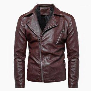 Neck Sloping Zipper Veste Mode Hommes Moto Jacket Mens Designer Cuir Jackets plus solide Couleur Lapel