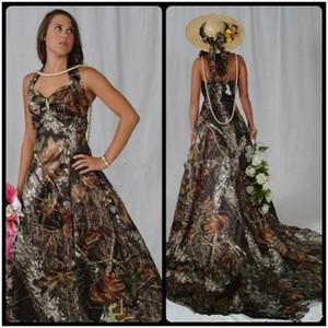2020 Camo Wedding Dresses Halter Neck Sleeveless Cheap Bride Party Wedding Gowns Long Sweep A Line Vestidos De Novia