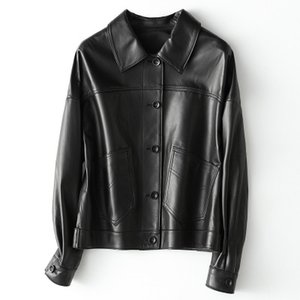 2020 Women Spring Genuine Real Sheep Leather Jacket H9