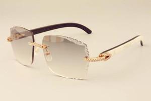 Atacado-direto da fábrica de moda de luxo diamante óculos de sol 3524014 chifres mistos naturais espelhar pernas óculos de lente gravura personalizada privada