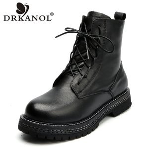 DRKANOL Mode Femmes Bottines véritable Flats chaud d'hiver en cuir Chaussures femmes Bottes main ronde plate-forme Toe