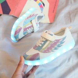 PKSAQ niños llevó zapatillas de tenis para niño del bebé niñas luz brillante desde USB zapatillas de chicos niños niñas zapatos luminosos