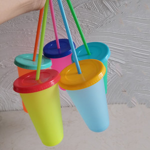 Temperature Change Color Plastic Cups 700ML 24oz Colorful Cold Water Color Changing Coffee Cup Mug Water Bottles With Straw DBC VT0514
