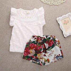 PUDCOCO 2-7Y 2Pcs toddler capretti neonate cristallo maglietta Tops + Shorts floreali Pant Outfits Abbigliamento