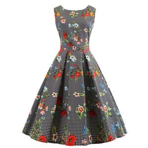 여성 우아한 봄 여름 Sundress 무늬 줄무늬 물방울 꽃 열대 잎 인쇄 스윙 1950 년대 50 레트로 빈티지 복장