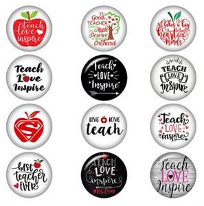 Karışık Teach Aşk Snap Düğme Takı Esin İyi Öğretmen Hiç 18MM Cam Snap Düğme Mücevher