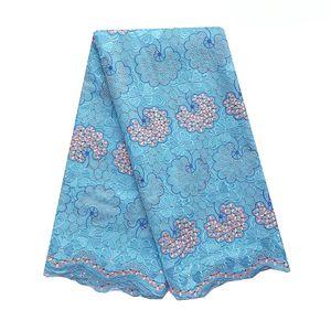 Pizzo Tessuto nigeriano 2019 di alta qualità Magenta Royal Blue Lace Fabric Uomini svizzero del voile di cotone Materiale del merletto per le donne africane