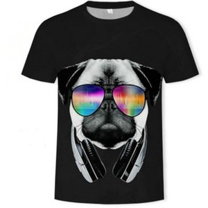 Glass t shirt DJ dog short sleeve tops Headset animal music tee Colorfast print gown Unisex all size clothing Quality tshirt