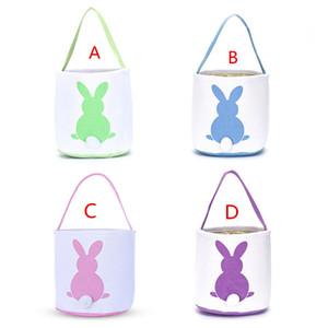 Cestas de Easter Coelho Cesta coelhinho da Páscoa Bolsas Coelho impressos sacola da lona ovo doces cestas