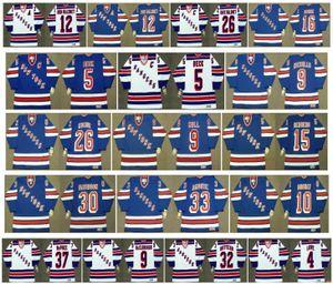 Vintage New York Rangers Jersey 5 Barry Beck 9 BERNIE NICHOLLS 26 Joe Kocur 9 Bobby Hull 15 Anders Hedberg 30 DAVIDSON 33 AMONTE CCM Hockey