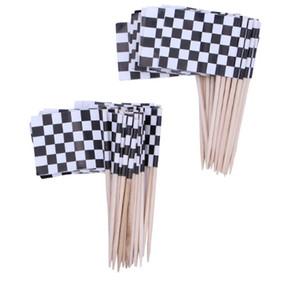 100 pc Flag 이쑤시개 흑인과 백인 Latticed Cupcake Toppers Party 칵테일 파티 장식용 스틱