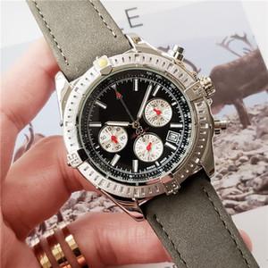 Relógios de Marca suíça para Homens Desafiante Relógio de Quartzo Chronograph Pulseira De Couro Funcional À Prova D 'Água Designer de Relógio de Pulso Sub Dial Trabalho