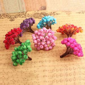 40 Jefes Mini falsos cristal fruta Bayas Heads artificial granada Red Cherry Ramo de Navidad Estambre dobles decorativo