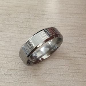 Key4fashion 2019 Hiç solma gümüş rengi nişan erkekler dokulu Yunan anahtar paslanmaz çelik düğün Rings çalacak Ücretsiz Kargo toptan 6mm