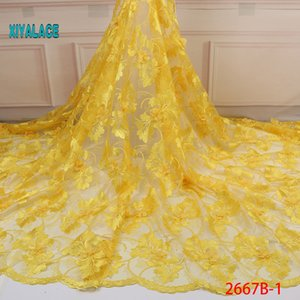 2020 New style French net lace fabric 3D flower African tulle mesh lace fabric high quality nigerian YA2667B-1