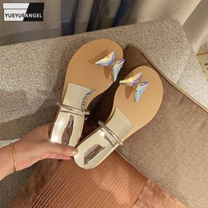 Women Flip Flops Summer Slip-On Shoes Open Toe Wedge Slippers Outside Shiny Crystal Butterfly Casual Golden Silver Luxury Slides