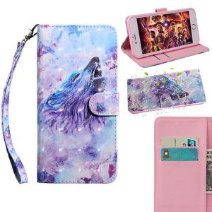 Для Iphone 12 2020 11 XR XS MAX X 10 8 7 6 SE 5 3D Flower кожаный бумажник чехол Собака Волк Tiger Cat Сова Lace Card Slot PU Магнитная откидная крышка