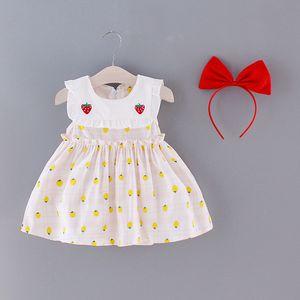 2020 Nouveau été Toddler Baby Girl Dress Bow Headhand + Fraise Vêtements Broderie Dressed Coton Accessoires cheveux Casual 0-4Y