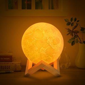 3d Stampa della lampada della luna ha condotto la luce Camera Table Desk letto Lampade USB ricaricabile Night Lights Per la casa in camera Decorazioni di Natale