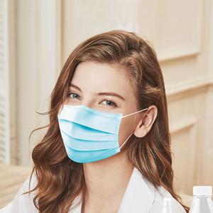 Mascarilla desechable de tres capas del oído bucle Polvo Polvo - Máscaras boca de la prueba de la cubierta de 3 capas no tejidas desechables máscara de polvo respirable parte uso familiar