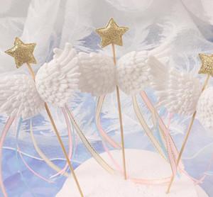 베이비 샤워 생일 Weddding 화이트 핑크 블루 블랙에 천사 날개 케이크 장식 토핑 작은 별 새틴 술 먹고 토핑 추천