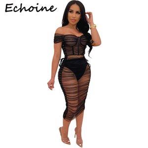 Echoine Sexy Sheer malha ver através Dois Set pedaço de Slash Neck Alças Top + Mulheres Party Dress Night Club Outfits T200528