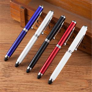 1 Piezas 4 en 1 pantalla táctil capacitiva de metal bolígrafos Stylus con LED suministra luz Oficina puntero láser escuela de negocios