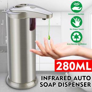 Sensor de infrarrojos sin contacto de 280 ml de líquido dispensador de jabón de acero inoxidable automático dispensador de jabón líquido para la cocina Baño ZZA2310 10Pcs