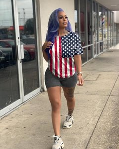 Womens 2pcs Bandiera nazionale Estate Stampa Abbigliamento femminile casual manica corta signore Due i pantaloni della parte americana indipendente giorno