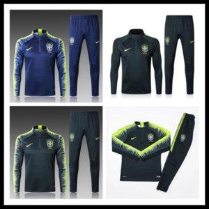 2019 Brasilien Trainingsanzug Trainingsanzüge Uniformen Hemden Chandal pogba Trainingsanzüge Survêtement Langarm enge Hosen Mit halbem Reißverschluss