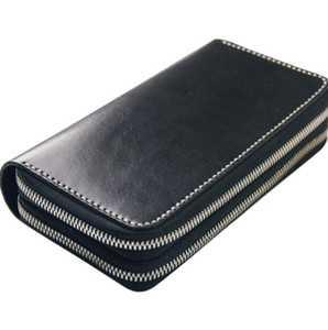 fashion designer credit card holder high quality classic leather double zipper purse folded notes and receipts bag wallet purse