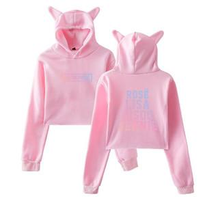 Mode-Kpop BlackPink Kawaii Crop Top Hoodie K POP Noir Rose Album drôle de chat oreille recadrée Shorts Sweat pull avec capuche Femmes Tops