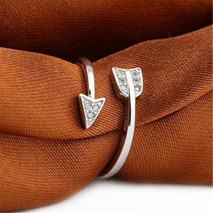 Arrow Open Rings Summner Beach Crystal Rhinestone Rings for Women Adjustable Engagement Female Finger Ring Jewelry Valentine's Day Gift