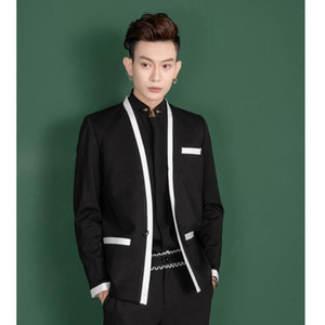 S-6XL 2020 New men's clothing Hair Stylist Fashion model Colour-matched collarless small suit jacket plus size singer costumes