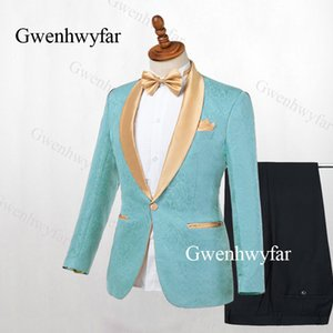 Gwenhwyfar Mint Green Slim Fit Smoking da sposo per cantante Prom Man Suit Gold Risvolto 2 pezzi Jacket Pants Men Stage Clothes