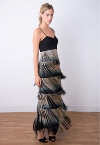 Sleeveless Fringe-Detailed Evening Long Dress