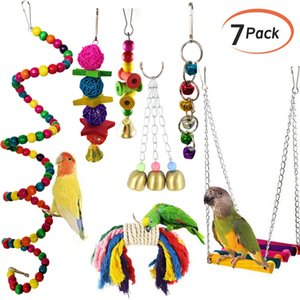 7Pcs set Pet Parrot Hanging Toy Chewing Bite Rattan Balls Grass Swing Bell Bird Parakeet Cage Accessories Pet Supplies