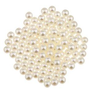 150x Имитация Pearl Нет Hole ABS Пластиковые свободные шарики шарма DIY шарика заключений 5MM